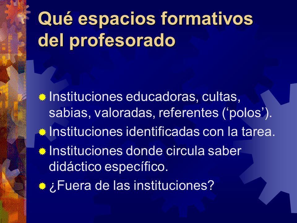 Qué espacios formativos del profesorado Instituciones educadoras, cultas, sabias, valoradas, referentes (polos). Instituciones identificadas con la ta