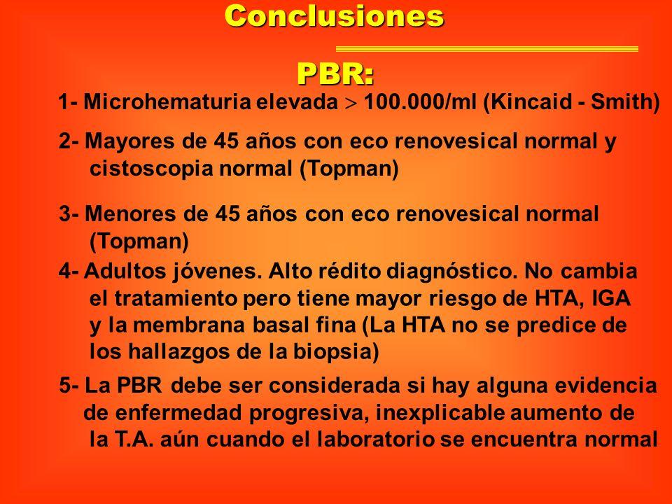 Conclusiones 1- Microhematuria elevada 100.000/ml (Kincaid - Smith) 2- Mayores de 45 años con eco renovesical normal y cistoscopia normal (Topman) 3-