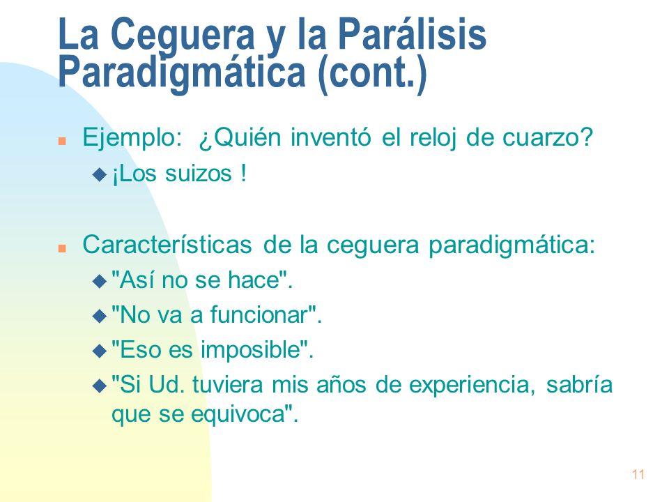 11 La Ceguera y la Parálisis Paradigmática (cont.) n Ejemplo: ¿Quién inventó el reloj de cuarzo? u ¡Los suizos ! n Características de la ceguera parad