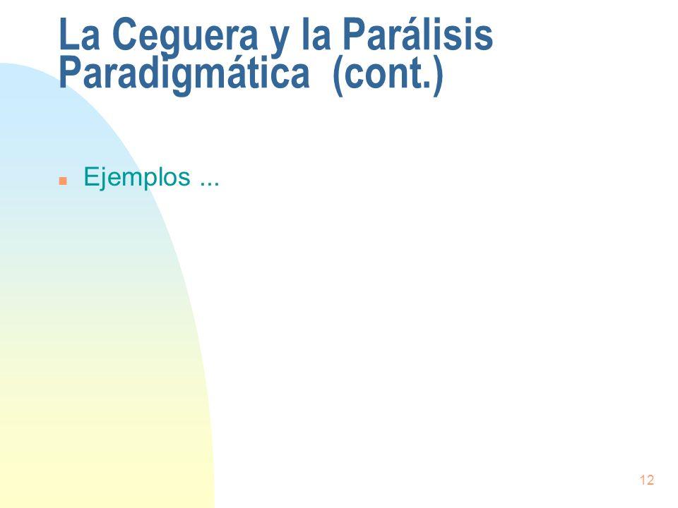 12 La Ceguera y la Parálisis Paradigmática (cont.) n Ejemplos...
