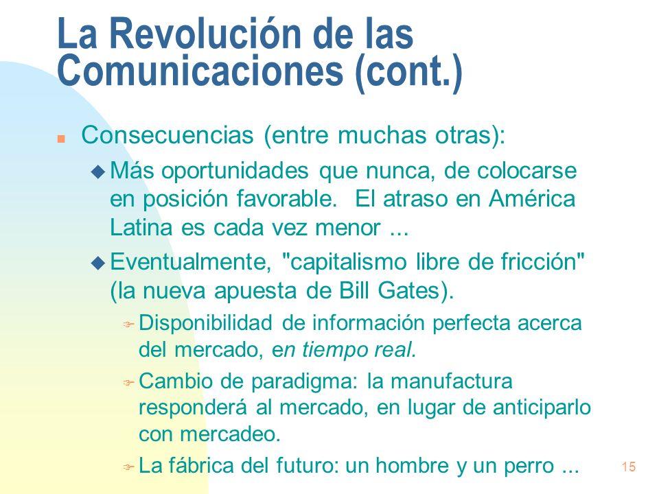 15 La Revolución de las Comunicaciones (cont.) n Consecuencias (entre muchas otras): u Más oportunidades que nunca, de colocarse en posición favorable