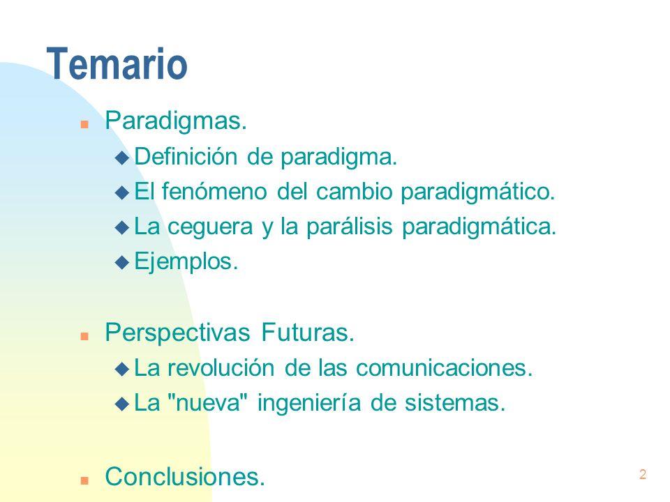 2 Temario n Paradigmas. u Definición de paradigma. u El fenómeno del cambio paradigmático. u La ceguera y la parálisis paradigmática. u Ejemplos. n Pe