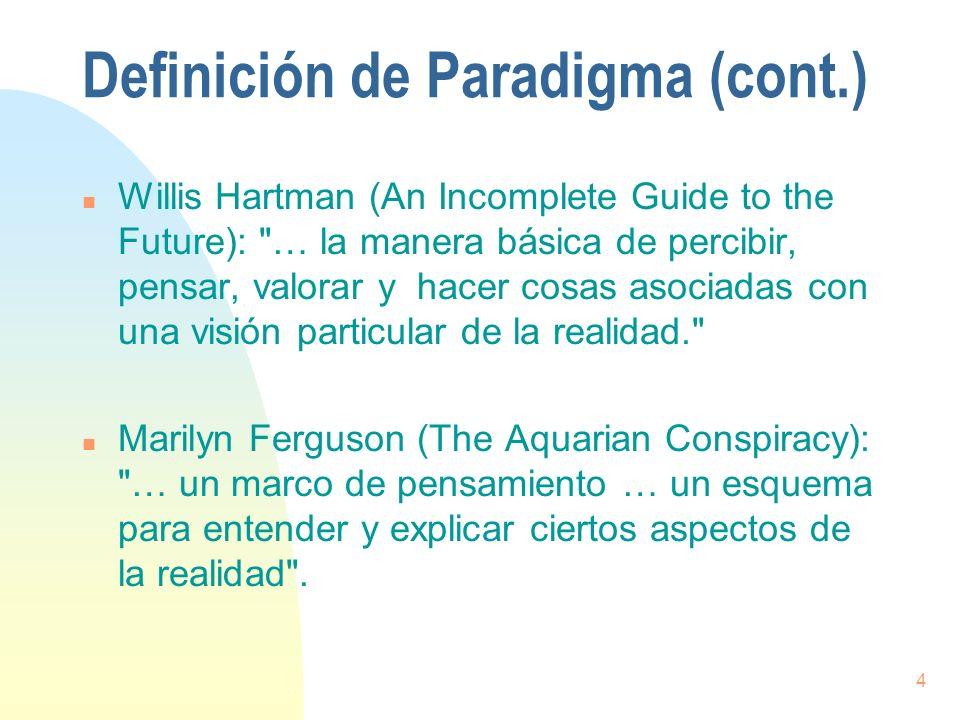 5 Definición de Paradigma (cont.) n Joel Barker (Discovering the Future: The Business of Paradigms): … un conjunto de reglas que definen límites, y establecen lo debido para tener éxito dentro de esos límites .