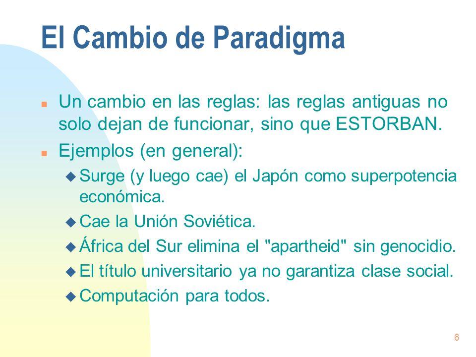 7 El Cambio de Paradigma (cont.) n Ejemplos (específicos en computación): u Programación estructurada.