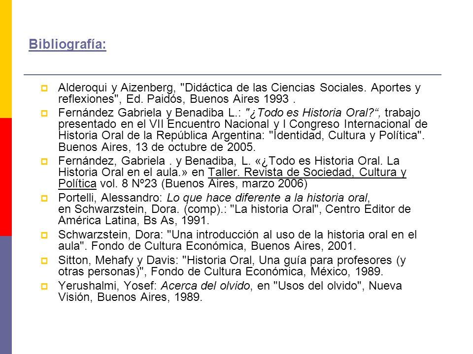 Bibliografía: Alderoqui y Aizenberg, Didáctica de las Ciencias Sociales.