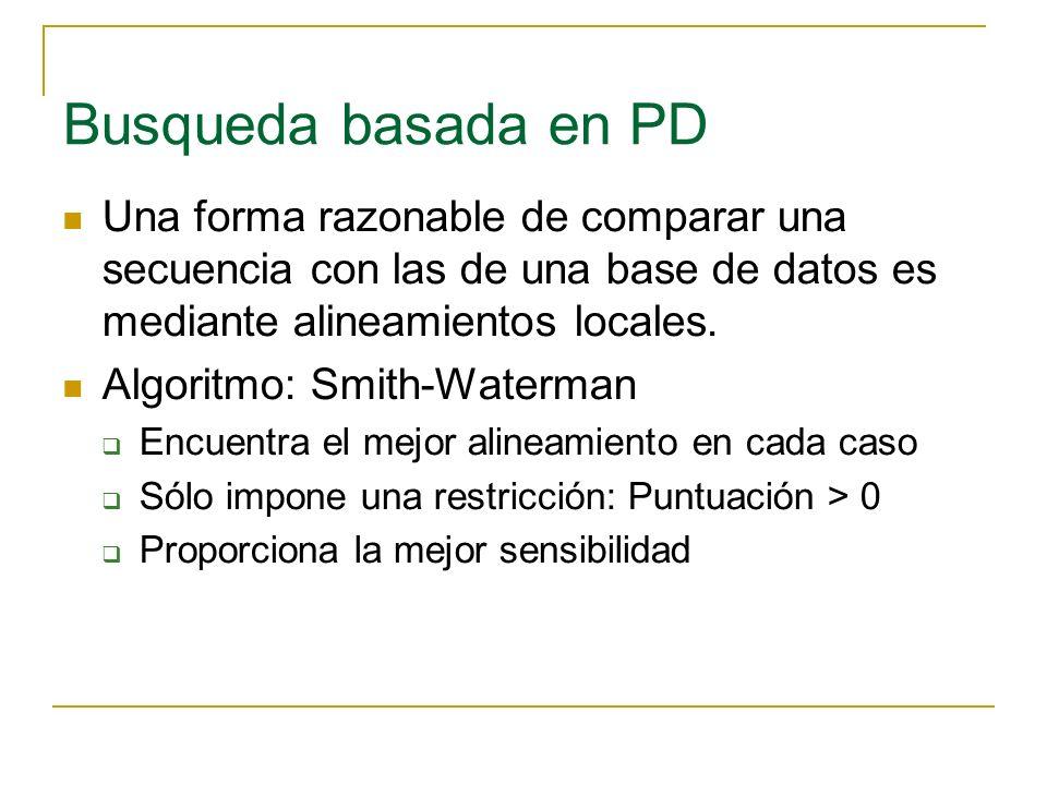 Busqueda basada en PD Una forma razonable de comparar una secuencia con las de una base de datos es mediante alineamientos locales. Algoritmo: Smith-W