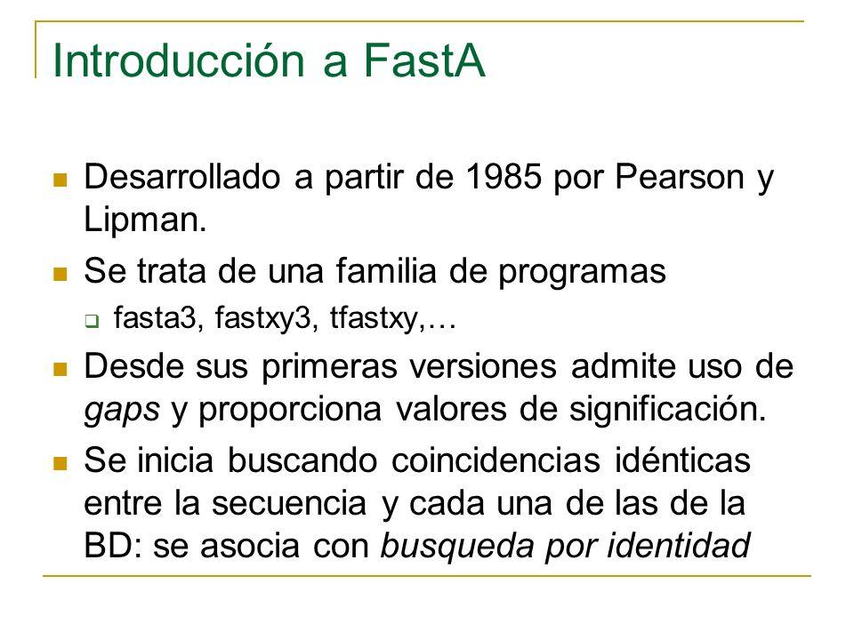 Introducción a FastA Desarrollado a partir de 1985 por Pearson y Lipman. Se trata de una familia de programas fasta3, fastxy3, tfastxy,… Desde sus pri