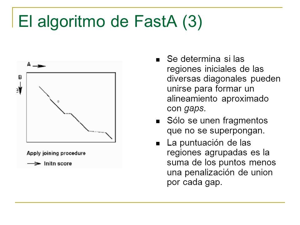El algoritmo de FastA (3) Se determina si las regiones iniciales de las diversas diagonales pueden unirse para formar un alineamiento aproximado con g