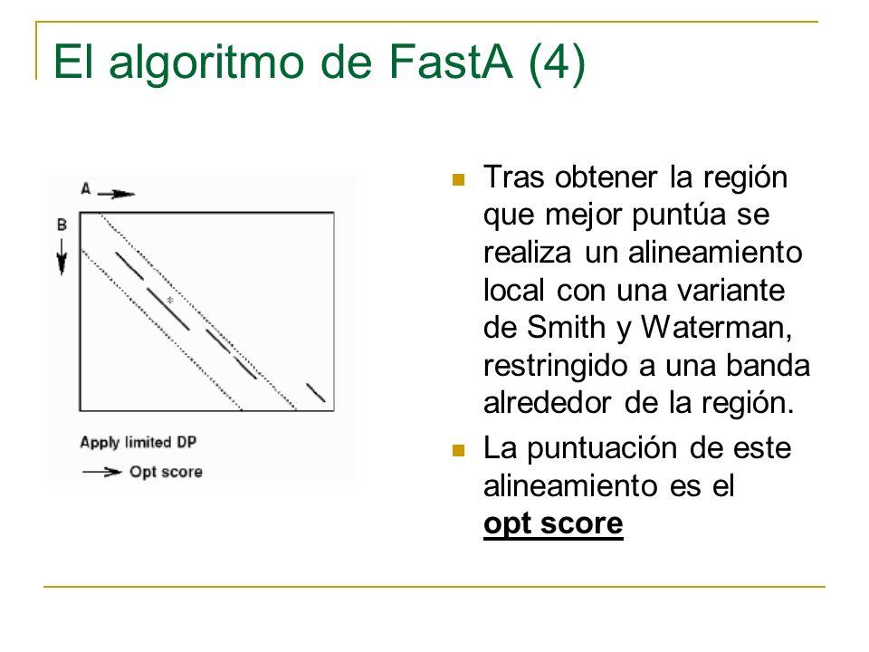 El algoritmo de FastA (4) Tras obtener la región que mejor puntúa se realiza un alineamiento local con una variante de Smith y Waterman, restringido a una banda alrededor de la región.