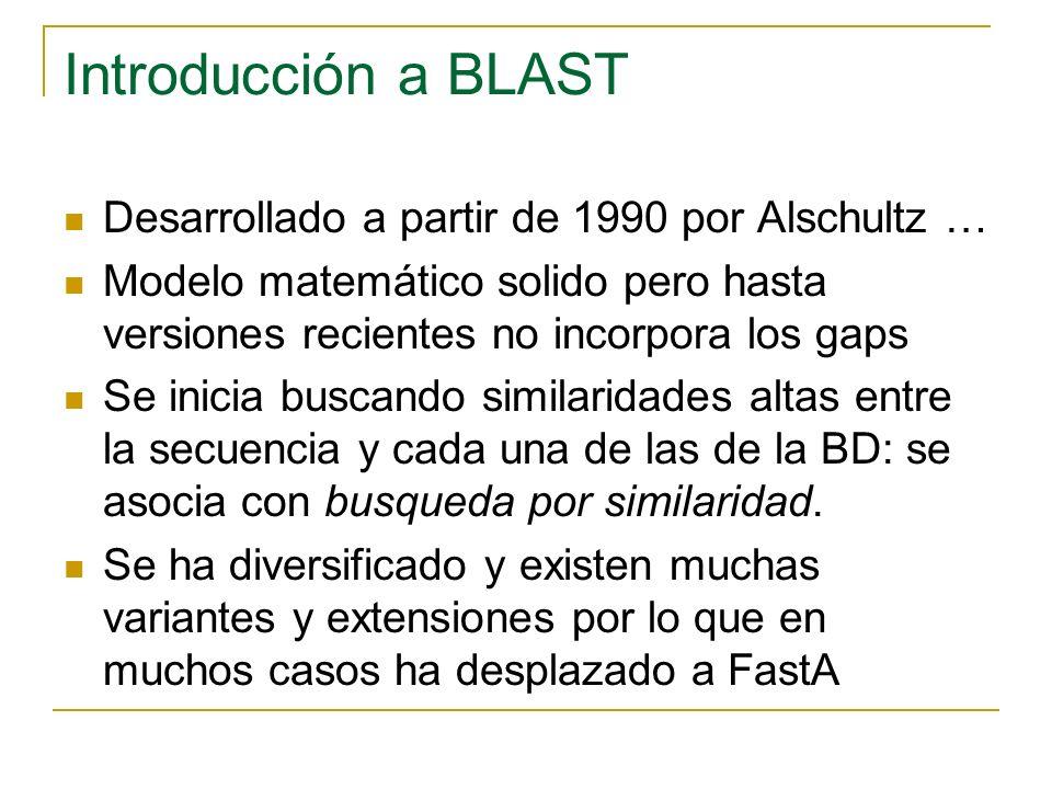 Introducción a BLAST Desarrollado a partir de 1990 por Alschultz … Modelo matemático solido pero hasta versiones recientes no incorpora los gaps Se inicia buscando similaridades altas entre la secuencia y cada una de las de la BD: se asocia con busqueda por similaridad.
