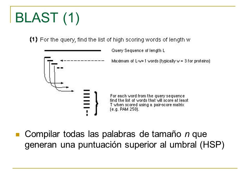BLAST (1) Compilar todas las palabras de tamaño n que generan una puntuación superior al umbral (HSP)