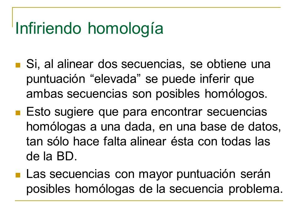 Infiriendo homología Si, al alinear dos secuencias, se obtiene una puntuación elevada se puede inferir que ambas secuencias son posibles homólogos. Es