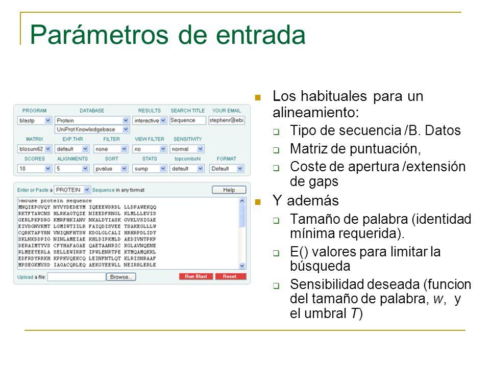Parámetros de entrada Los habituales para un alineamiento: Tipo de secuencia /B. Datos Matriz de puntuación, Coste de apertura /extensión de gaps Y ad