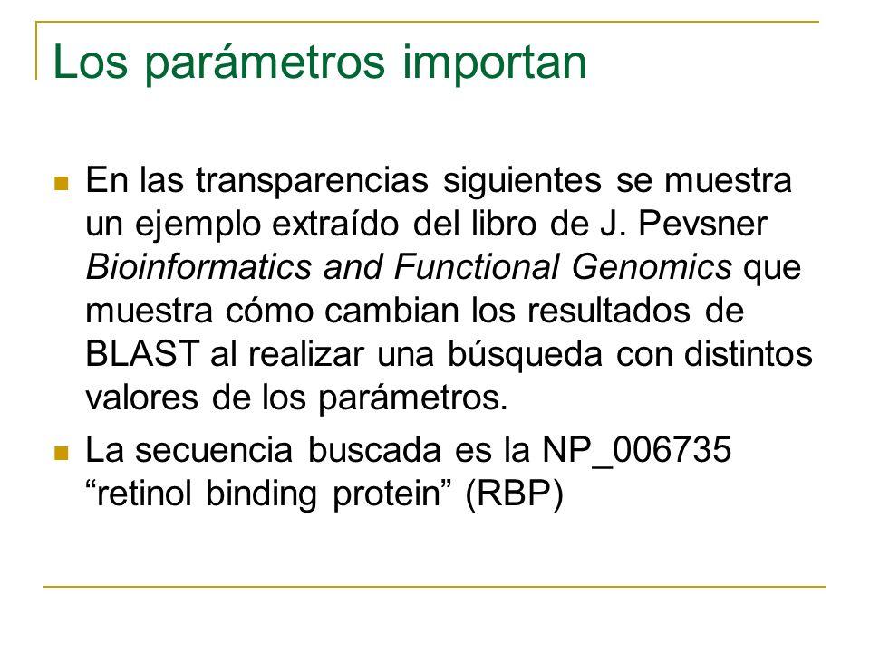 Los parámetros importan En las transparencias siguientes se muestra un ejemplo extraído del libro de J. Pevsner Bioinformatics and Functional Genomics