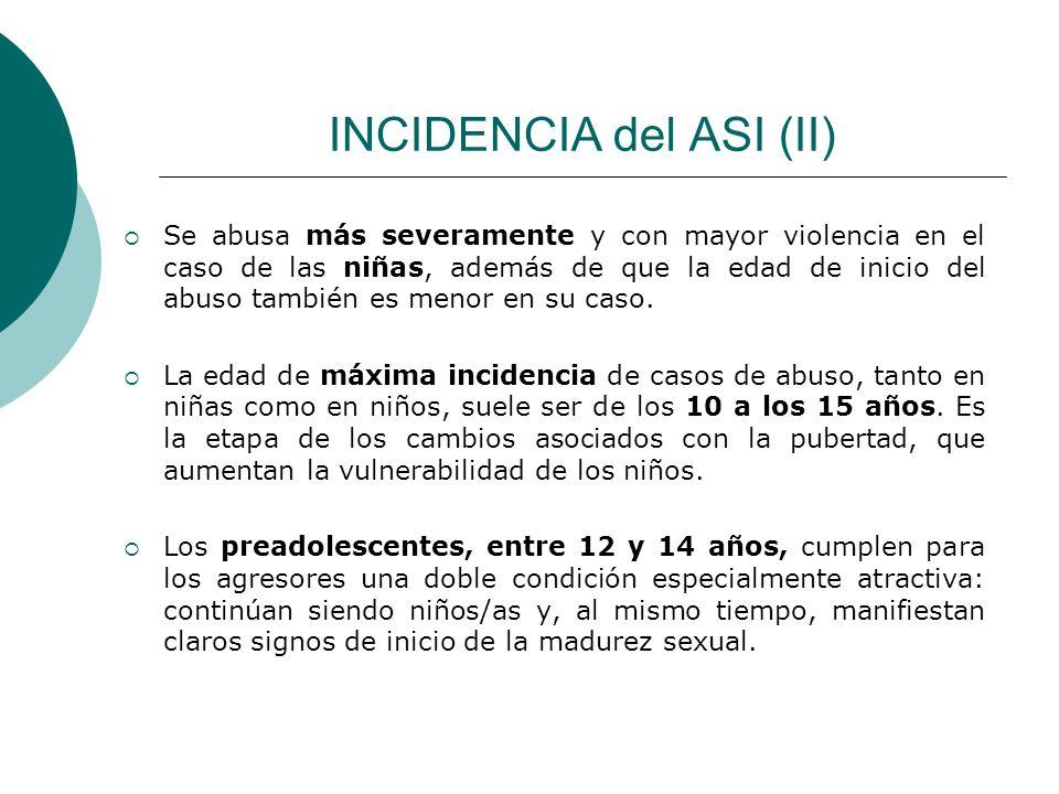 INCIDENCIA del ASI (II) Se abusa más severamente y con mayor violencia en el caso de las niñas, además de que la edad de inicio del abuso también es m