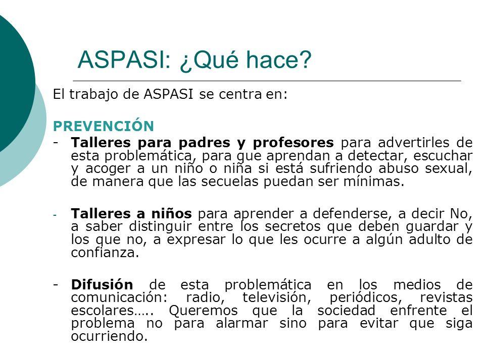 ASPASI: ¿Qué hace? El trabajo de ASPASI se centra en: PREVENCIÓN -Talleres para padres y profesores para advertirles de esta problemática, para que ap