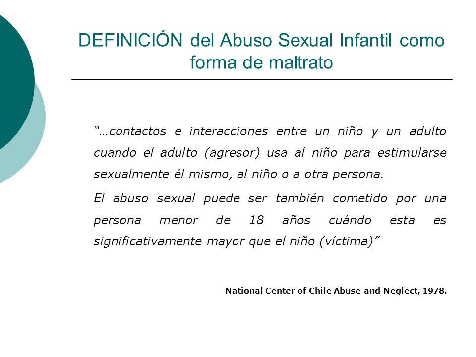 DEFINICIÓN del Abuso Sexual Infantil como forma de maltrato …contactos e interacciones entre un niño y un adulto cuando el adulto (agresor) usa al niñ