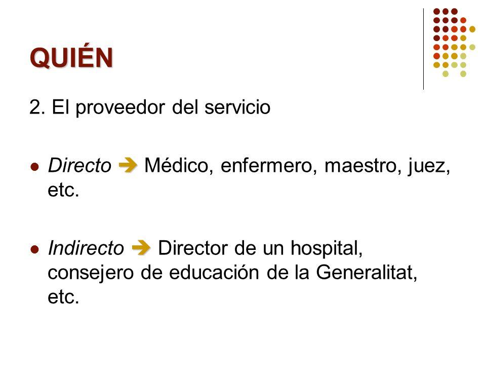QUIÉN 2. El proveedor del servicio Directo Médico, enfermero, maestro, juez, etc. Indirecto Director de un hospital, consejero de educación de la Gene