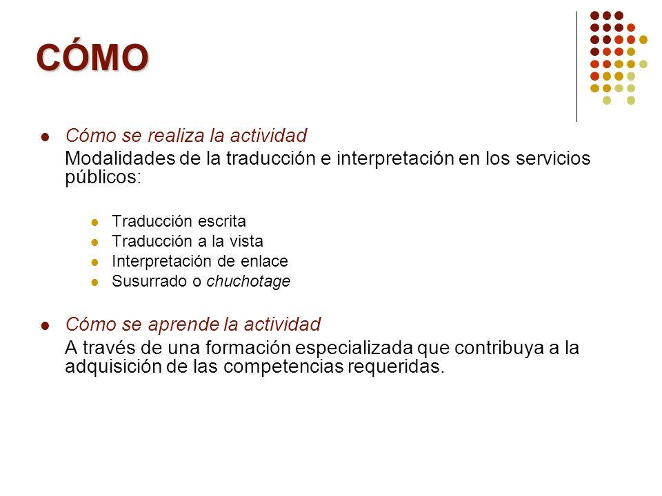 CÓMO Cómo se realiza la actividad Modalidades de la traducción e interpretación en los servicios públicos: Traducción escrita Traducción a la vista In