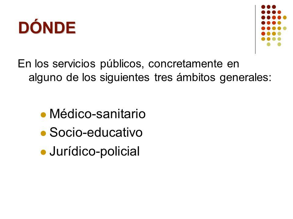 DÓNDE En los servicios públicos, concretamente en alguno de los siguientes tres ámbitos generales: Médico-sanitario Socio-educativo Jurídico-policial