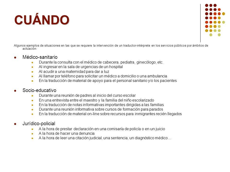 CUÁNDO Algunos ejemplos de situaciones en las que se requiere la intervención de un traductor-intérprete en los servicios públicos por ámbitos de actu