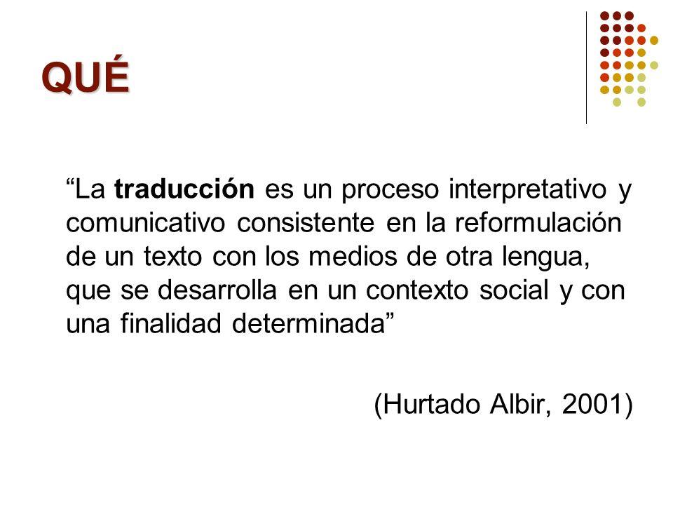 QUIÉN Modelo de competencia traductora del grupo PACTE (2003) (BI)LINGÜÍSTICA CONOCIMIENTOS DE TRADUCCIÓN INSTRUMENTAL EXTRALINGÜÍSTICA COMPONENTES PSICO-FISIOLÓGICOS ESTRATÉGICA