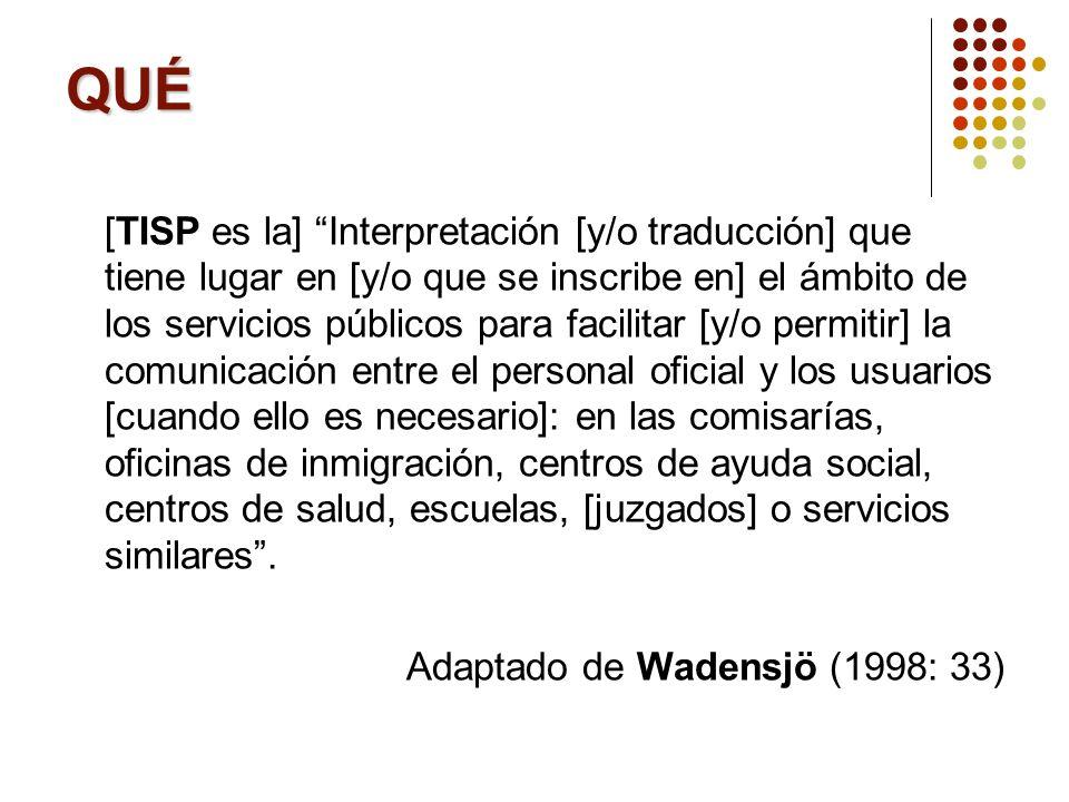 QUÉ [TISP es la] Interpretación [y/o traducción] que tiene lugar en [y/o que se inscribe en] el ámbito de los servicios públicos para facilitar [y/o p