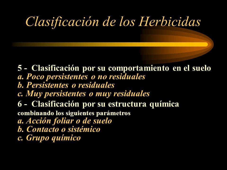 5 - Clasificación por su comportamiento en el suelo a. Poco persistentes o no residuales b. Persistentes o residuales c. Muy persistentes o muy residu