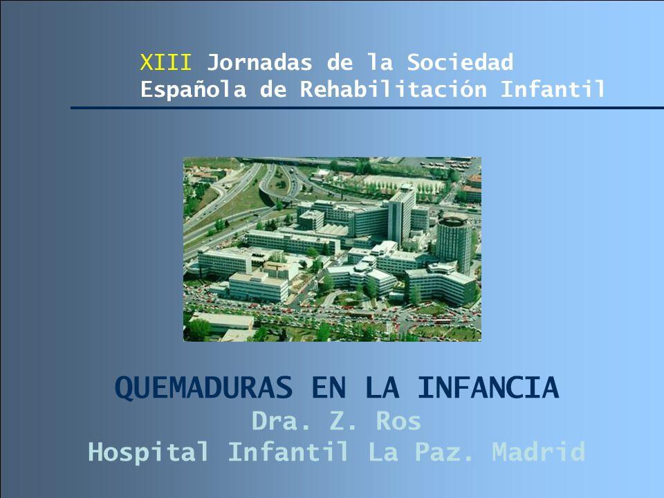 QUEMADURAS EN LA INFANCIA Dra. Z. Ros Hospital Infantil La Paz. Madrid XIII Jornadas de la Sociedad Española de Rehabilitación Infantil