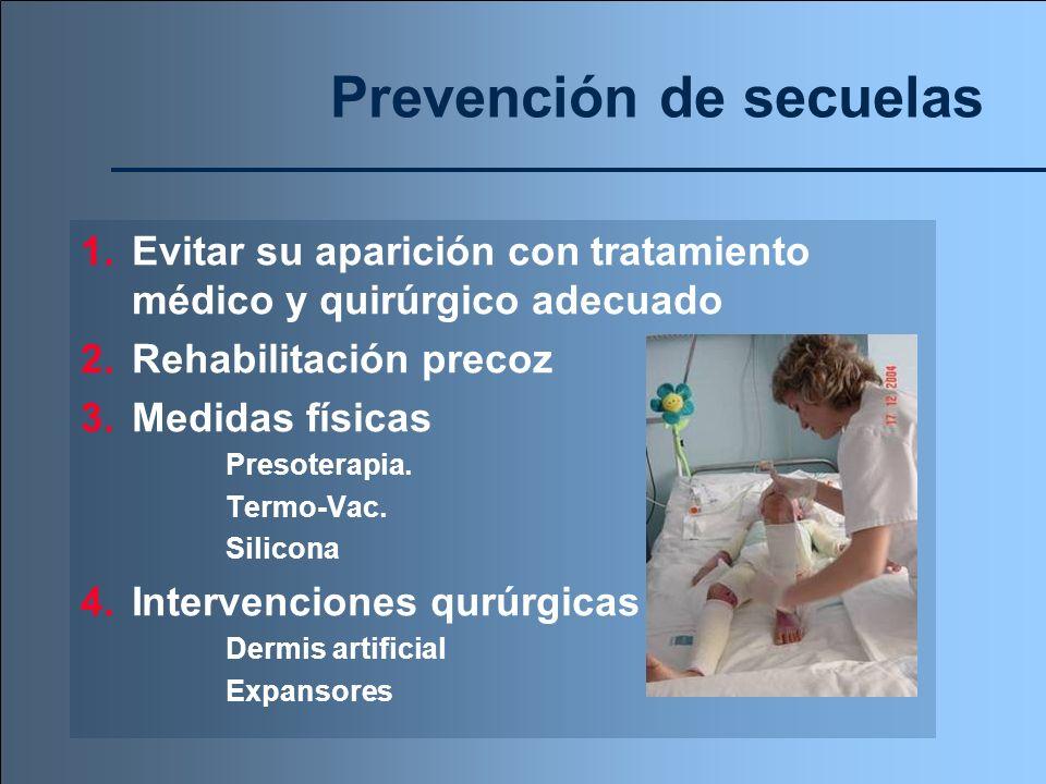 Prevención de secuelas 1.Evitar su aparición con tratamiento médico y quirúrgico adecuado 2.Rehabilitación precoz 3.Medidas físicas Presoterapia. Term