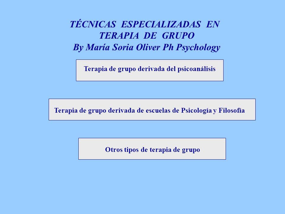 Terapia de grupo derivada del psicoanálisis 1.Psicoanálisis en grupo 2.