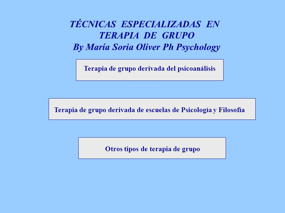 TÉCNICAS ESPECIALIZADAS EN TERAPIA DE GRUPO By María Soria Oliver Ph Psychology Terapia de grupo derivada del psicoanálisis Terapia de grupo derivada