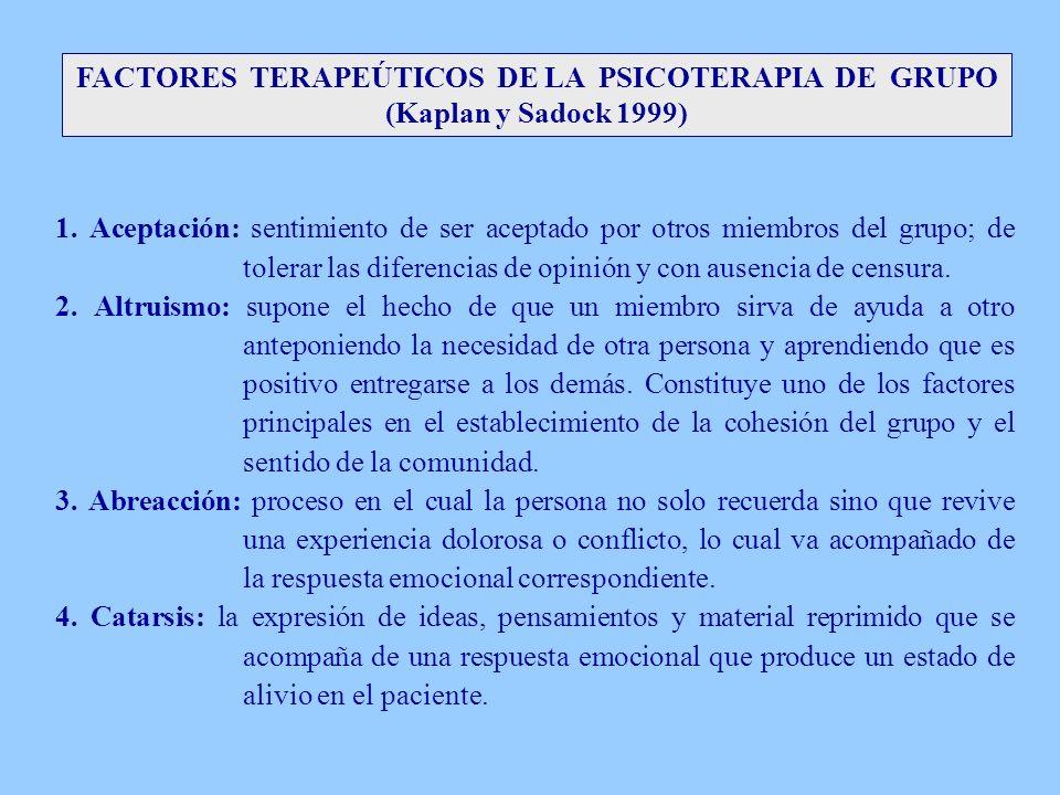 FACTORES TERAPEÚTICOS DE LA PSICOTERAPIA DE GRUPO (Kaplan y Sadock 1999) 1. Aceptación: sentimiento de ser aceptado por otros miembros del grupo; de t
