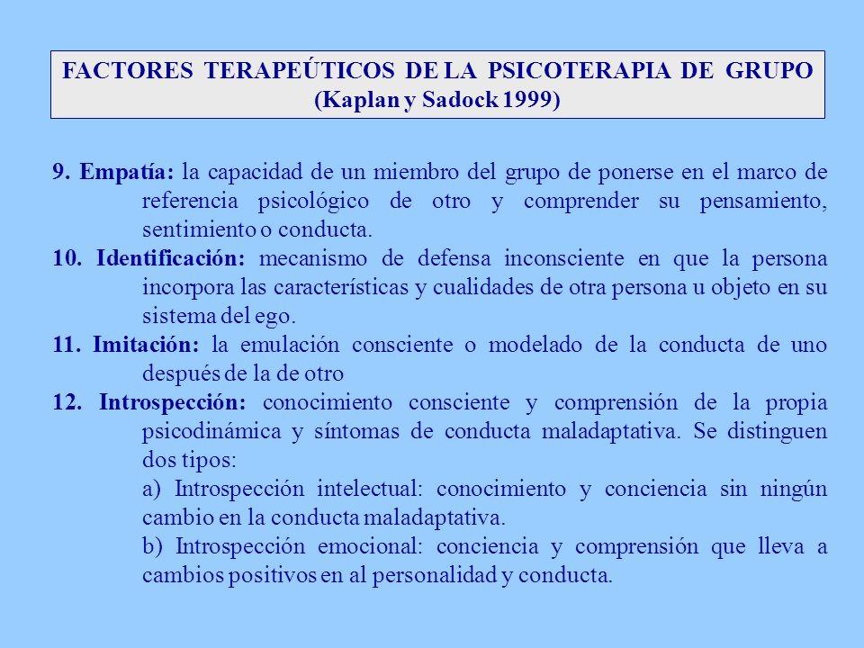 FACTORES TERAPEÚTICOS DE LA PSICOTERAPIA DE GRUPO (Kaplan y Sadock 1999) 9. Empatía: la capacidad de un miembro del grupo de ponerse en el marco de re