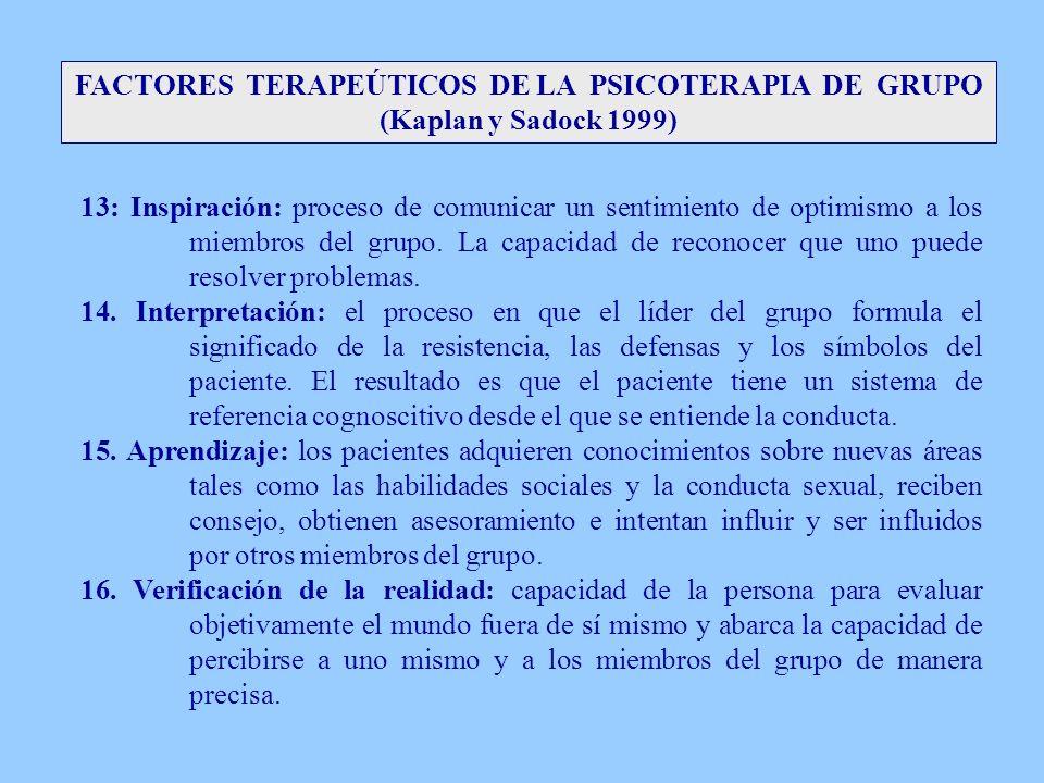 FACTORES TERAPEÚTICOS DE LA PSICOTERAPIA DE GRUPO (Kaplan y Sadock 1999) 13: Inspiración: proceso de comunicar un sentimiento de optimismo a los miemb