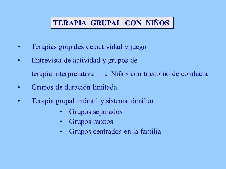 TERAPIA GRUPAL CON NIÑOS Terapias grupales de actividad y juego Entrevista de actividad y grupos de terapia interpretativa Niños con trastorno de cond