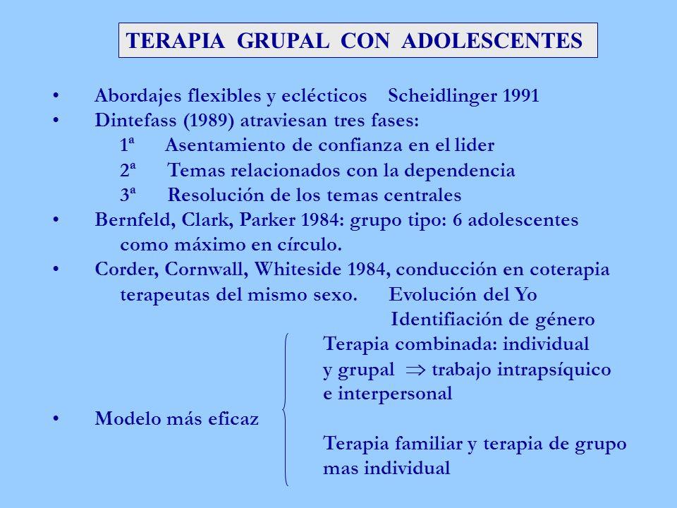 TERAPIA GRUPAL CON ADOLESCENTES Abordajes flexibles y eclécticos Scheidlinger 1991 Dintefass (1989) atraviesan tres fases: 1ª Asentamiento de confianz
