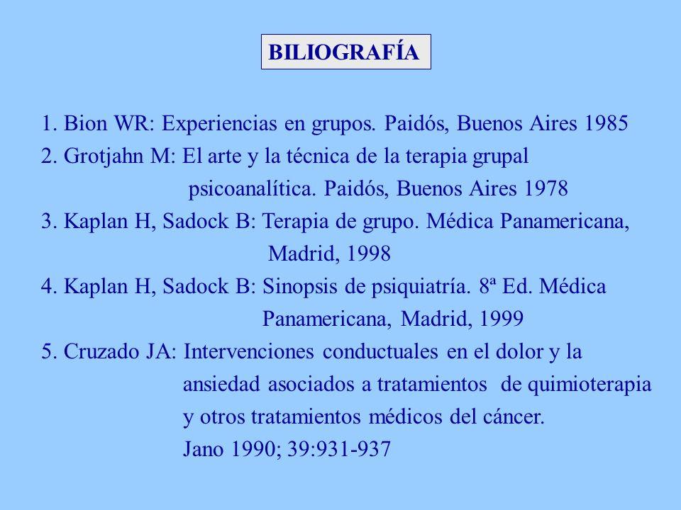 BILIOGRAFÍA 1. Bion WR: Experiencias en grupos. Paidós, Buenos Aires 1985 2. Grotjahn M: El arte y la técnica de la terapia grupal psicoanalítica. Pai