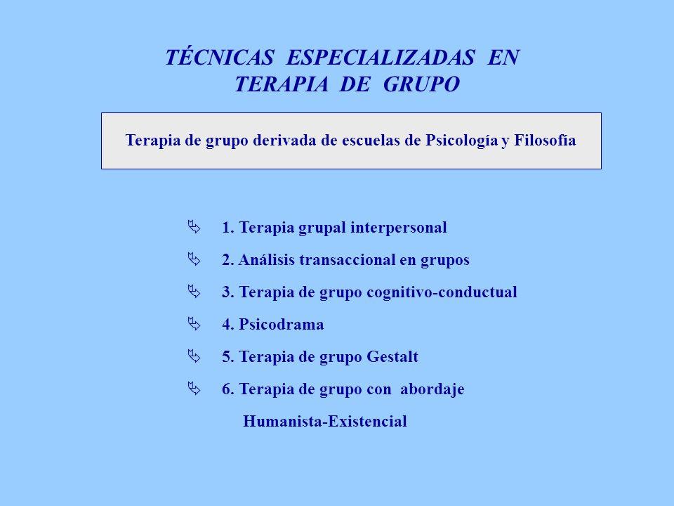 Terapia de grupo derivada de escuelas de Psicología y Filosofía 1. Terapia grupal interpersonal 2. Análisis transaccional en grupos 3. Terapia de grup