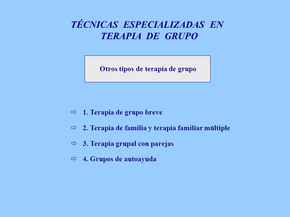 Otros tipos de terapia de grupo 1. Terapia de grupo breve 2. Terapia de familia y terapia familiar múltiple 3. Terapia grupal con parejas 4. Grupos de