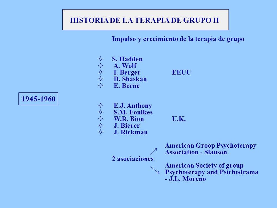 HISTORIA DE LA TERAPIA DE GRUPO II 1945-1960 Impulso y crecimiento de la terapia de grupo S. Hadden A. Wolf I. Berger EEUU D. Shaskan E. Berne E.J. An