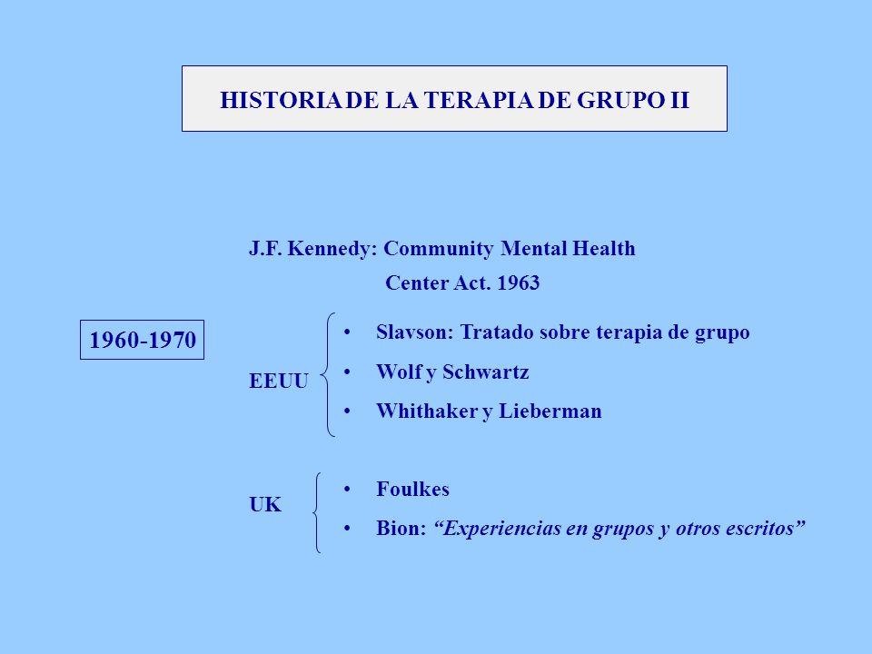 1960-1970 J.F. Kennedy: Community Mental Health Center Act. 1963 EEUU UK Slavson: Tratado sobre terapia de grupo Wolf y Schwartz Whithaker y Lieberman