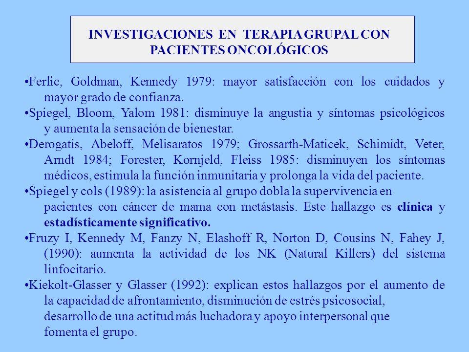 INVESTIGACIONES EN TERAPIA GRUPAL CON PACIENTES ONCOLÓGICOS Ferlic, Goldman, Kennedy 1979: mayor satisfacción con los cuidados y mayor grado de confia