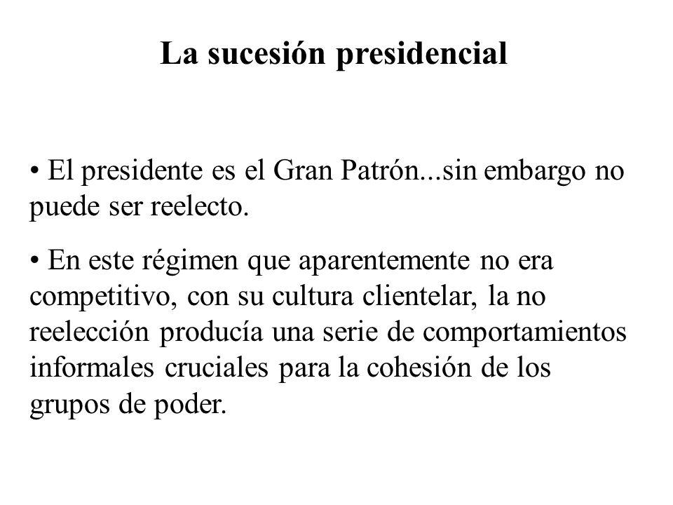 La sucesión presidencial El presidente es el Gran Patrón...sin embargo no puede ser reelecto. En este régimen que aparentemente no era competitivo, co