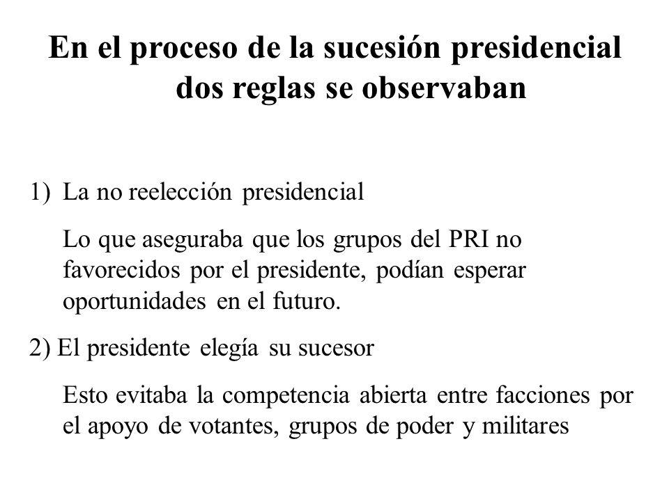 En el proceso de la sucesión presidencial dos reglas se observaban 1)La no reelección presidencial Lo que aseguraba que los grupos del PRI no favoreci