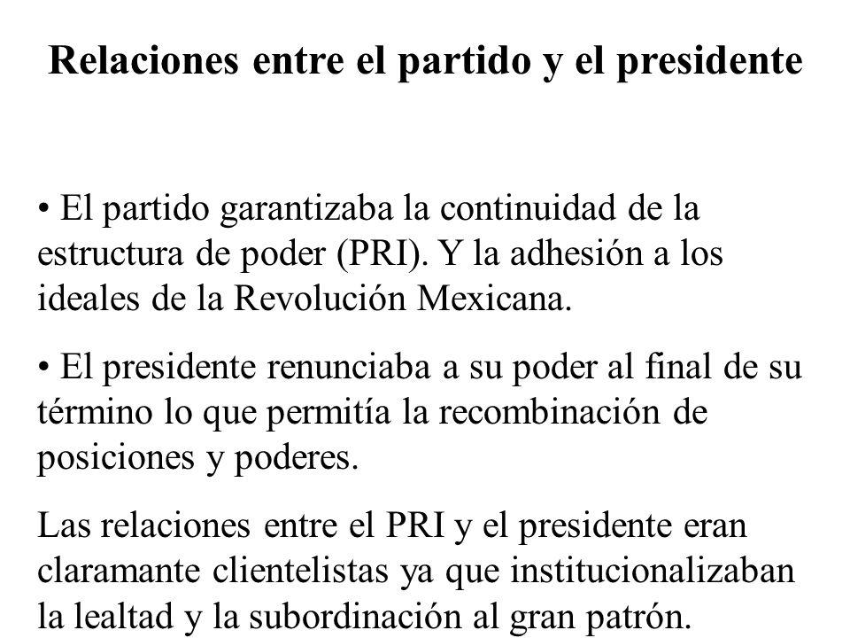 Relaciones entre el partido y el presidente El partido garantizaba la continuidad de la estructura de poder (PRI). Y la adhesión a los ideales de la R