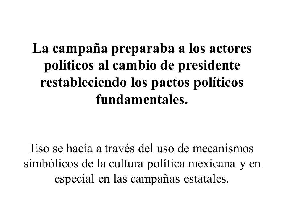 La campaña preparaba a los actores políticos al cambio de presidente restableciendo los pactos políticos fundamentales. Eso se hacía a través del uso