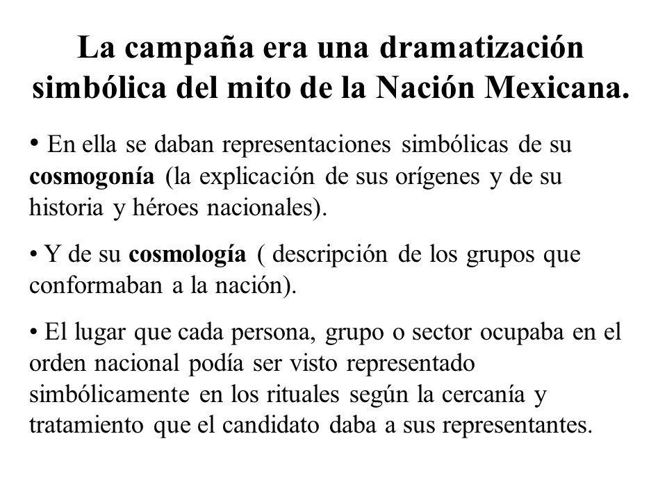 La campaña era una dramatización simbólica del mito de la Nación Mexicana. En ella se daban representaciones simbólicas de su cosmogonía (la explicaci