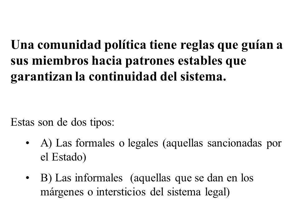 Una comunidad política tiene reglas que guían a sus miembros hacia patrones estables que garantizan la continuidad del sistema. Estas son de dos tipos