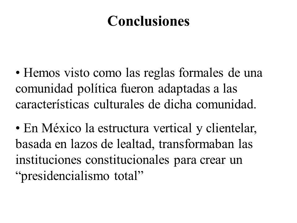 Conclusiones Hemos visto como las reglas formales de una comunidad política fueron adaptadas a las características culturales de dicha comunidad. En M